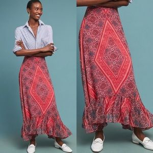 Anthro Ranna Gill Scarf-Printed Maxi Skirt